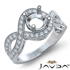 Halo Set Diamond Engagement 14K White Gold Round Semi Mount Milgrain Ring 0.45Ct