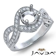 Halo Set Diamond Engagement 14K White Gold Round Semi Mount Milgrain Ring 0.45Ct