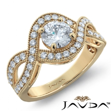 Milgrain Halo Side Stone Round diamond engagement Ring in 14k Gold Yellow