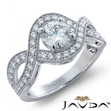 Milgrain Halo Side Stone Round diamond engagement Ring in 18k Gold White