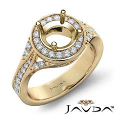 Diamond Engagement Halo Pave Set Ring Round Semi Mount 14k Gold Yellow  (0.45Ct. tw.)