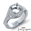 Diamond Engagement Halo Pave Set Ring Round Semi Mount 14k White Gold 0.45Ct - javda.com