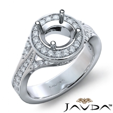 Diamond Engagement Halo Pave Set Ring Round Semi Mount 14K White Gold 0.45Ct