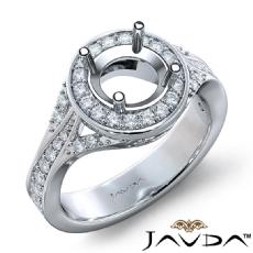Diamond Engagement Halo Pave Set Ring Round Semi Mount 14K White Gold 0.45Ct