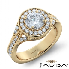 Micro Pave Trio Shank Halo Round diamond engagement Ring in 14k Gold Yellow