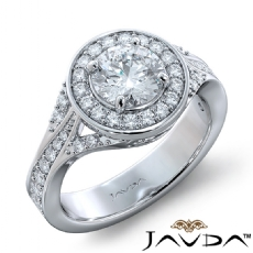 Micro Pave Trio Shank Halo Round diamond engagement Ring in 14k Gold White