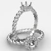 Twisted Rope Shank Round Diamond Halo Semi Mount Engagement Ring 14k White Gold 0.15Ct - javda.com