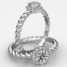 Twisted Rope Prong Set Halo Round diamond  Ring in 18k Gold White