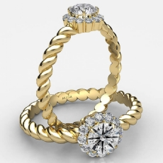 Twisted Rope Prong Set Halo Round diamond  Ring in 18k Gold Yellow
