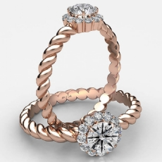 Twisted Rope Prong Set Halo Round diamond  Ring in 18k Rose Gold