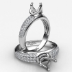 Three Row Round Diamond Semi Mount Engagement Ring in 14k White Gold 0.3Ct - javda.com