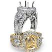 Cushion 3 Stone Halo Diamond Engagement Ring 14k White Gold Vintage Semi Mount 1.85Ct - javda.com