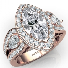 Vintage Inspired 3 Stone Halo Marquise diamond  Ring in 18k Rose Gold