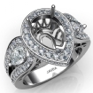 Pear Diamond Antique Engagement Halo 3Stone Ring Setting 14k White Gold Semi-Mount 1.85Ct - javda.com