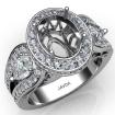 Vintage 3Stone Oval Diamond Engagement Halo Ring Setting 14k White Gold Semi Mount 1.85Ct - javda.com