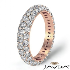 3 Row Diamond Engagement Women's Eternity Ring Wedding Band 14k Rose Gold  (3Ct. tw.)