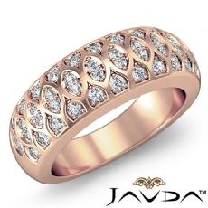 Antique Women's Half Wedding Ring Round Pave Diamond Band 14k Rose Gold  (0.51Ct. tw.)