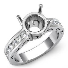 0.50Ct Round Diamond Semi Mount Engagement Ring Channel Setting 14K White Gold