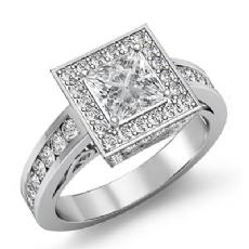 Channel Set Halo Filigree Princess diamond engagement Ring in 14k Gold White