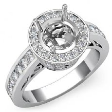 Halo Pave Setting Diamond Engagement Round Semi Mount Ring 14K White Gold 0.80Ct