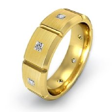 Diamond Eternity Men's Wedding Band in 14k Gold Yellow Matte Comfort Fit  (0.5Ct. tw.)