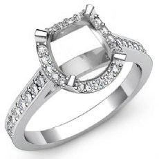 0.4Ct Diamond Engagement Ring Cushion Semi Mount 14K White Gold Halo Setting