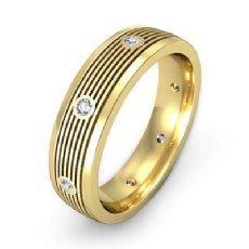 Round Bezel Diamond Ridged style Men's Wedding Band 14k Gold Yellow  (0.16Ct. tw.)