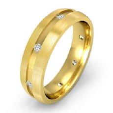 14k Gold Yellow Matte Finish Men's Bezel Diamond Eternity Wedding Band  (0.2Ct. tw.)