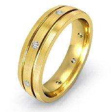 Brushed Finish Bezel Diamond Eternity Men's Wedding Band 14k Gold Yellow  (0.2Ct. tw.)