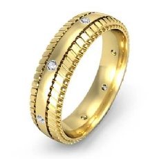 Tire Tread Pattern Diamond Men's Eternity Dome Wedding Band 18k Gold Yellow  (0.16Ct. tw.)