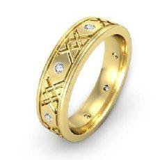 Round Edges Diamond Eternity Men's Wedding Band XO Style 14k Gold Yellow  (0.16Ct. tw.)