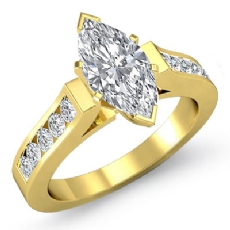 Channel Set Cathedral Peg Head Marquise diamond engagement Ring in 14k Gold Yellow