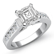 Channel Set Cathedral Peg Head Asscher diamond engagement Ring in 14k Gold White