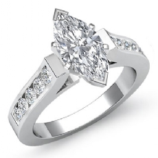 Channel Set Cathedral Peg Head Marquise diamond engagement Ring in 14k Gold White
