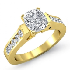 4 Prong Channel Set Shank Cushion diamond engagement Ring in 14k Gold Yellow