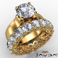 7.05Ct. Diamond Engagement Wedding Bridal Set Ring 14k Yellow Gold GIA Certified