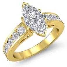 Channel Set Shank diamond Ring 14k Gold Yellow