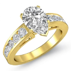 Channel Set Shank Pear diamond  Ring in 18k Gold Yellow