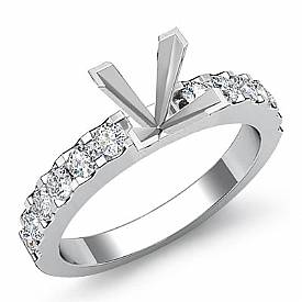 0.47 Ct Princess Diamond Engagement Prong Setting Ring Semi Mount 14k White Gold