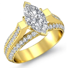 Trio Shank 4 Prong Set Marquise diamond engagement Ring in 14k Gold Yellow