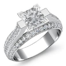 Trio Shank 4 Prong Set Princess diamond engagement Ring in 14k Gold White