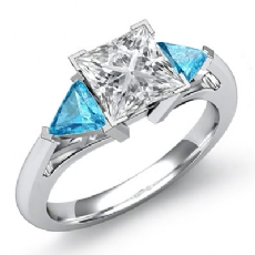 Aquamarine Classic 3 Stone Princess diamond engagement Ring in 14k Gold White