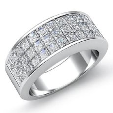 Womens Princess Invisible Diamond Half Wedding Band Ring 14k White Gold 1.75Ct