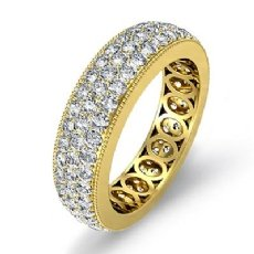 3 Row Pave Set Diamond Ring 18k Gold Yellow Women's Wedding Eternity Band  (2.1Ct. tw.)