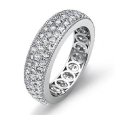 3 Row Pave Set Diamond Ring 14k White Gold Women's Wedding Eternity Band 2.1Ct