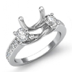 Round Diamond 3 Stone Engagement Ring Setting 14k White Gold Semi Mount 0.8Ct - javda.com