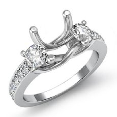 Round Diamond 3 Stone Engagement Ring Setting 14k White Gold Semi Mount 0.80Ct