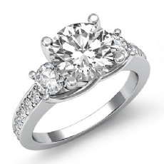 Trellis 3 Stone Sidestone Round diamond engagement Ring in 14k Gold White