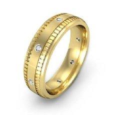 Ribbed Edges Diamond Eternity Men's Wedding Band 14k Gold Yellow  (0.16Ct. tw.)