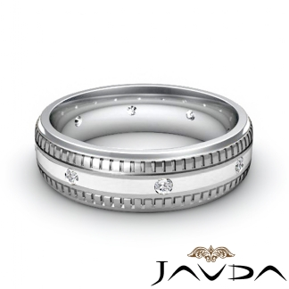Round Bezel Diamond Mens Eternity Wedding Band Platinum 950 Solid Ring 0.16Ct